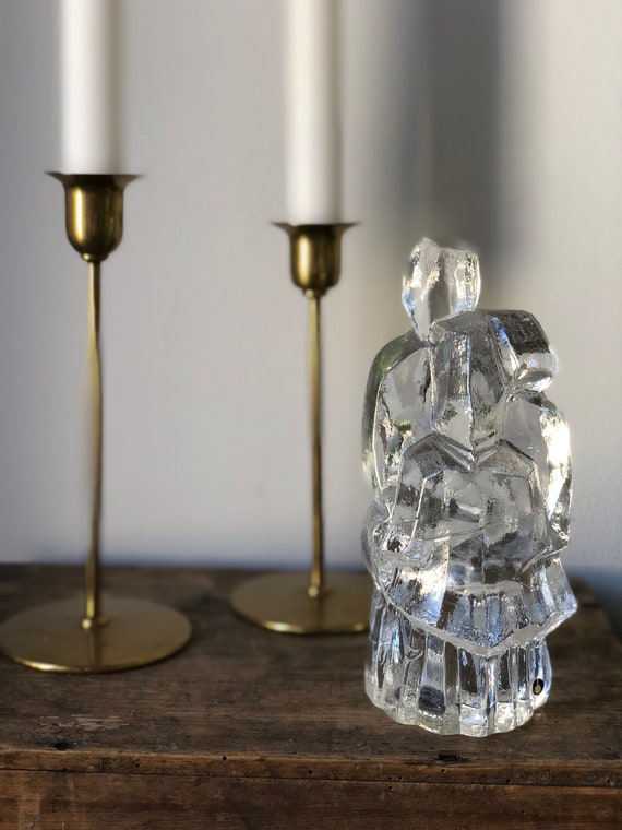 Nordic modern folk sculpture first glass sculpture paperweight crystal pukeberg 1970s uno westerberg Scandinavian native