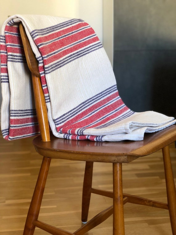 Tablecloth Vintage Scandinavian scandiboho linen cotton handwoven tablecloth style/natural fibers/hygge/scandinavian Beige Red Blue