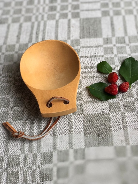 Swedish hand carved wooden spoon bowl hygge Scandinavian sauna viking primitive boho farmhouse