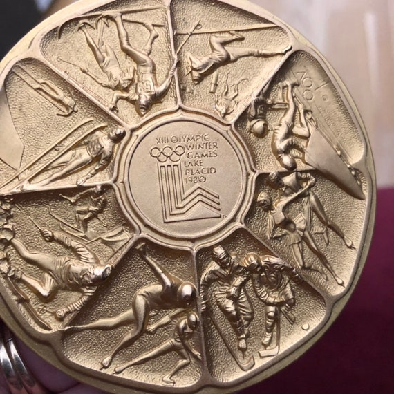 1980 Olympic commemorative Lake Placid  calendar gold medallion