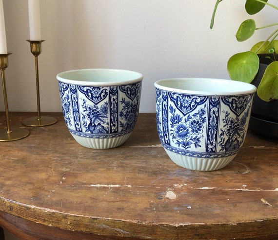 Delft blue Dutch porcelain planters Delft Bluw Petrus Regout & CO Maastricht made in Holland  Delfts