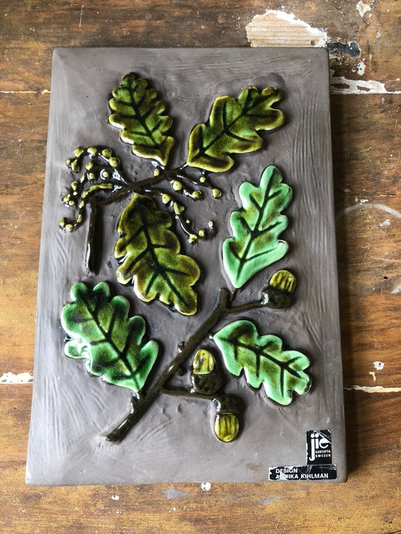 Jie Annika Kihlman Gantofta Sweden ceramic wall tile / wall plaque  ceramic plaque oak leaves and acorns /  boho wall hanging