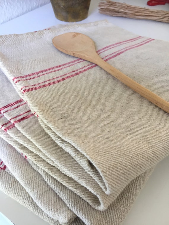 3 Vintage/grain sack/linen/ French country /hand towels/kitchen towels/red and beige