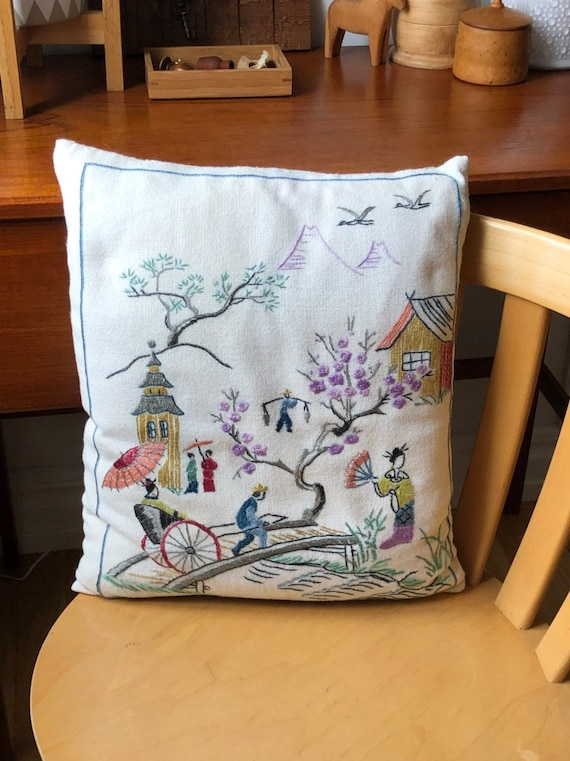 Embroidered Swedish Scandinavian folk art decorative pillow japanese village motif needle work