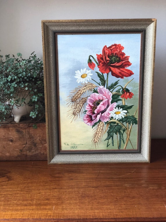 Swedish oil painting on board signed EH Olsson 1955 still life Flowers Scandinavian country farmhouse cottage core