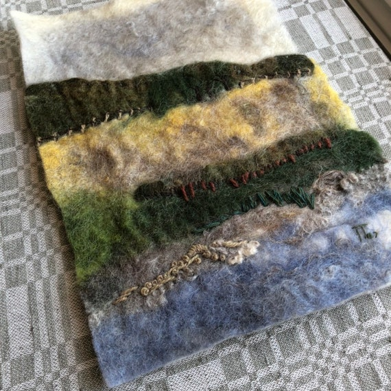 Swedish needle felted wool landscape wall hanging made with Swedish wool Scandinavian art vibrant colors Sweden