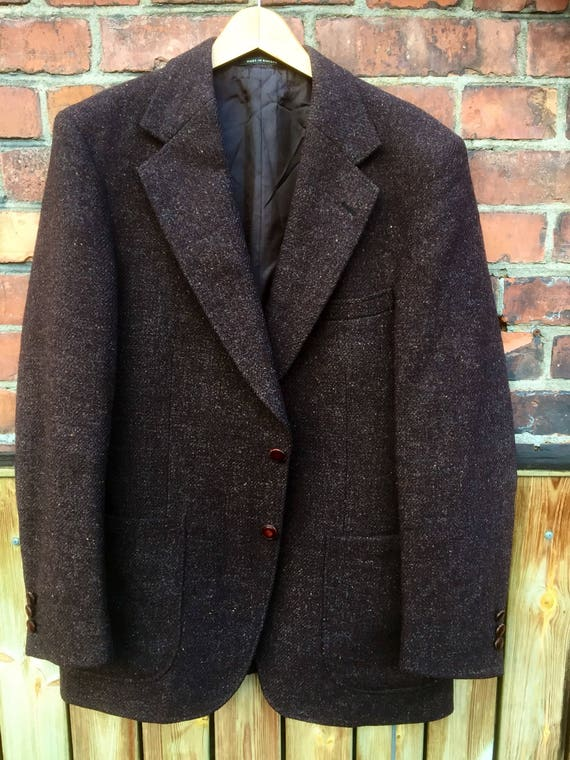 Harris tweed/light weight/jacket/sports coat/Men's vintage /dark brown/harris tweed /jacket/1960s/retro/suit/sports coat/formal caual/timele