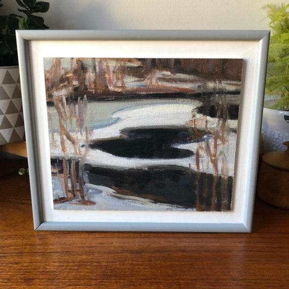 """Swedish oil painting on board by Sune Fondell """"Winter in Sweden"""" Kalmar"""