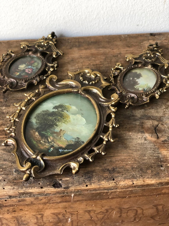 Miniature frames with hand painted original paintings / Bronze metal gatsby style /vintage wedding hollywood regency