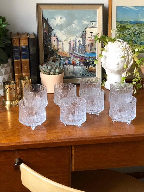 Set of 8 iittala Ultima Thule Old Fashion series whiskey water glasses timo Sarpaneva finland