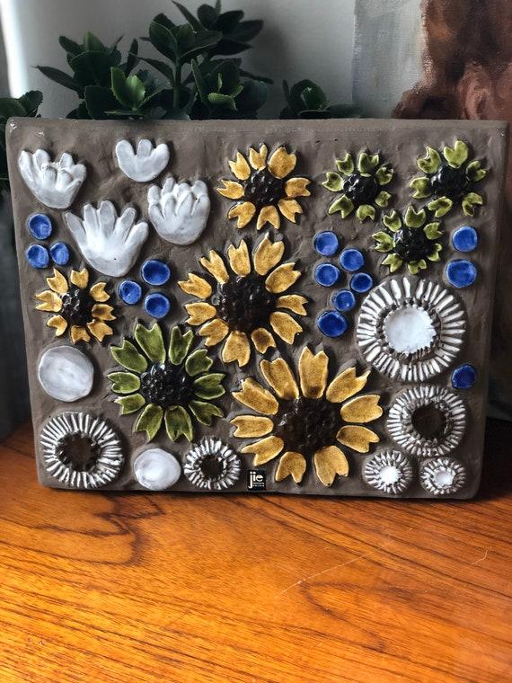 Vintage 1960s ceramic tile plaque ceramic wall art by JIE Sweden Scandinavian flowers outdoor space