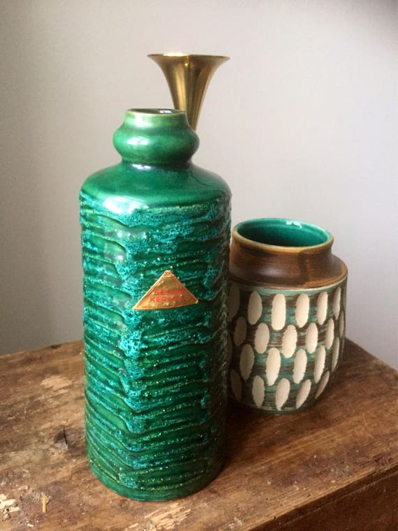 Strehla/East German Pottery/Vase/fat lava/jade green/WGP /importer sticker sesam Keramik/sweden/west german pottery