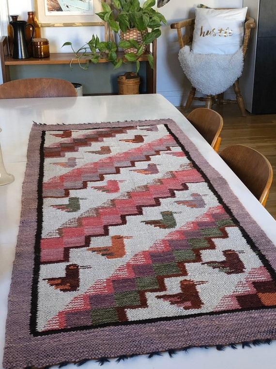 Swedish wall hanging Wool blend rug woven birds loomed weaving Scandinavian
