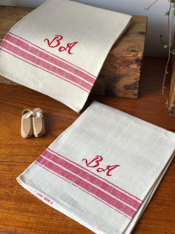 Pair of Vintage woven Scandinavian hand towels kitchen towels monogram BA red and cream /beige farmhouse kitchen