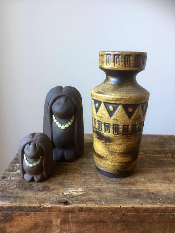 Vintage/west German/Scheurich/small/embossed/vase/midcentury modern/boho/shelfie