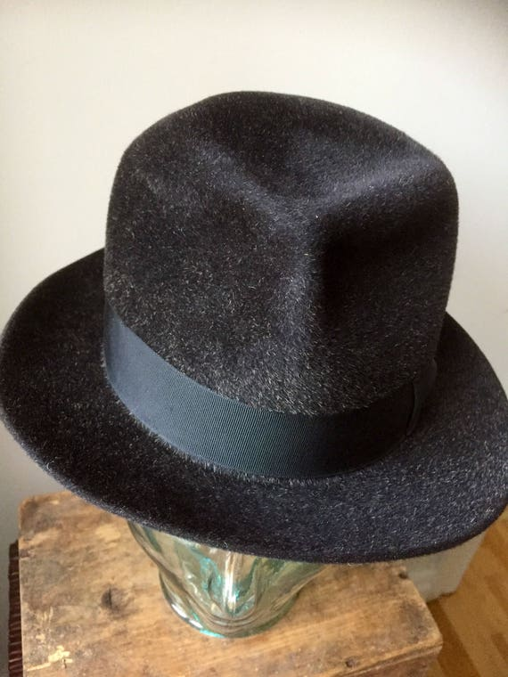 Royal Stetson Vintage hat charcoal gray made in England 1940s excellent condition