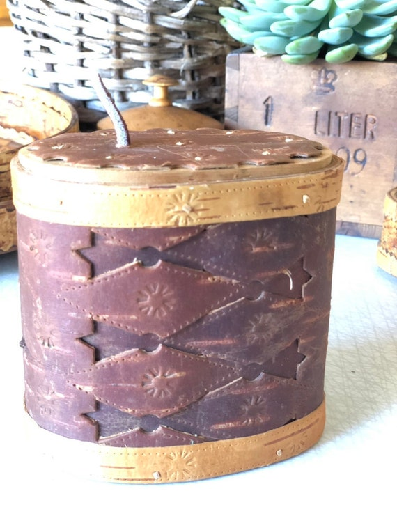 Swedish wooden birch bark midcentury modern wooden container with lid canister storage handcrafted signed Scandinavian swedish