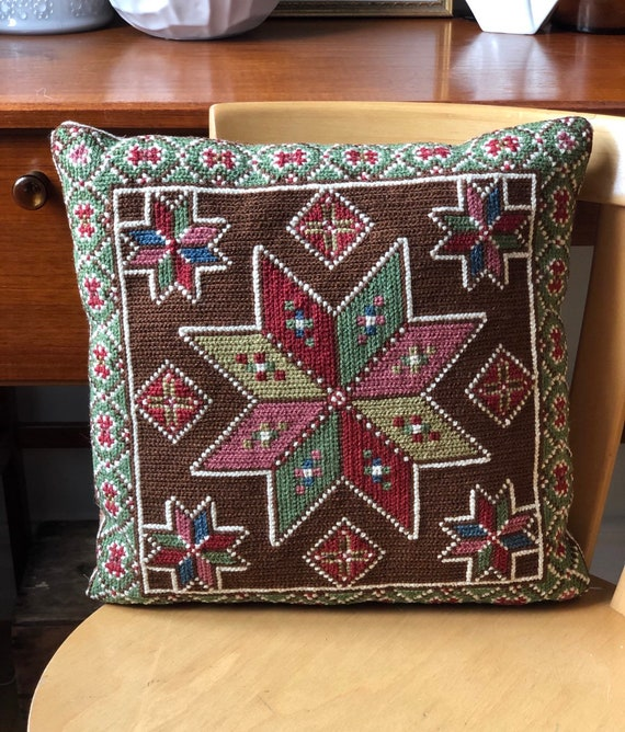 Vintage hand embroidered star pink brown and green pillow traditional Scandinavian pattern