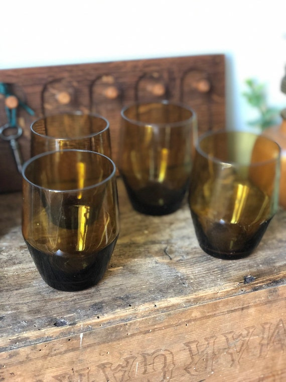 Swedish hand blown amber small glasses / water glasses 1970s set of 4