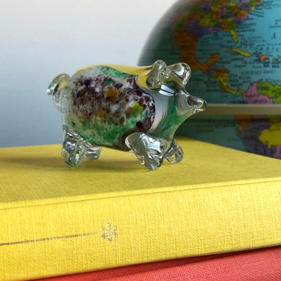 Swedish glass pig figurine soft glass/pulled glass hand sculpted with colorful glass inside