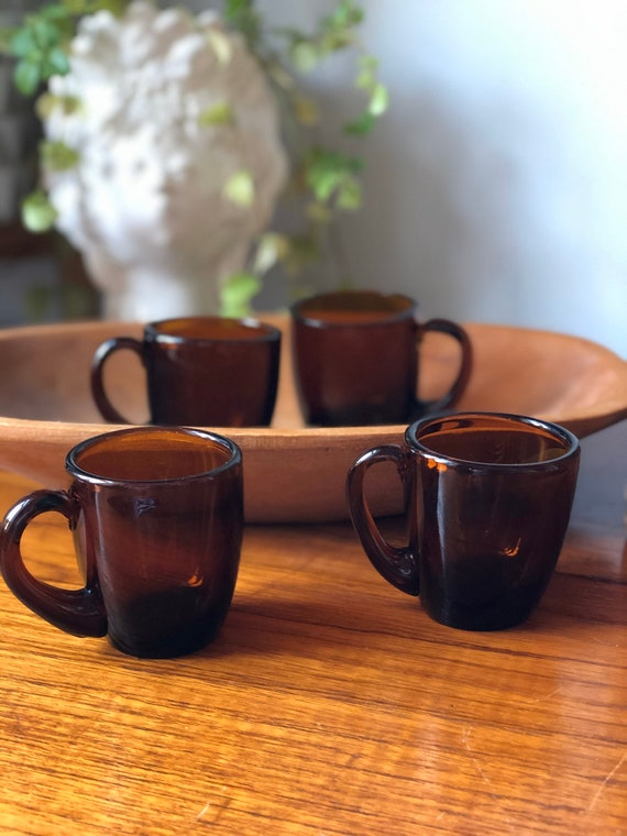 Set of 6 Swedish amber glass hot beverage mulled wine coffee tea glasses Swedish Scandinavian cups mugs