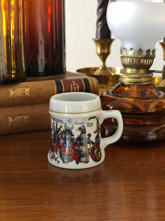 Miniature Kurt Hammer beer stein traditional code of arms stamped
