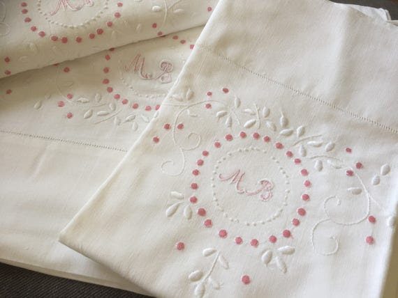Scandinavian twin set/hand embroidered/monogrammed/MB/ flat sheet /and /pillow case