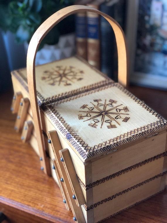 Vintage wooden handmade Polish accordion sewing box / storage box handicraft folkart handle