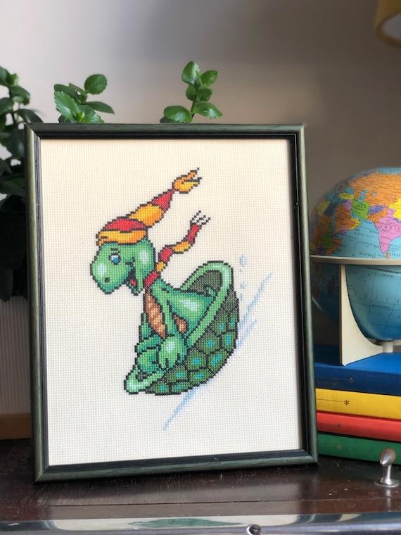Vintage turtle Swedish Cross Stitch needlepoint framed cartoon video game character