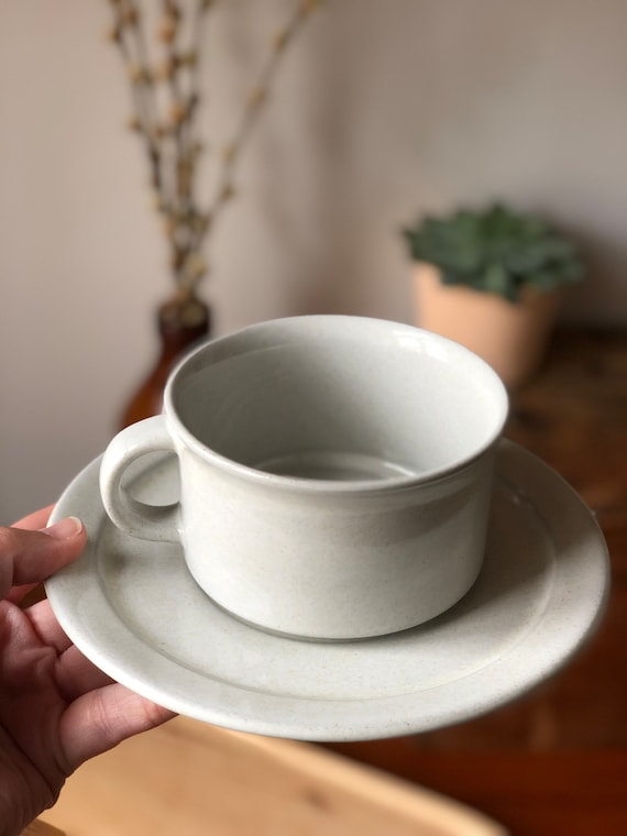 Höganäs tea mug  and white saucer retro Scandinavian minimalist stoneware