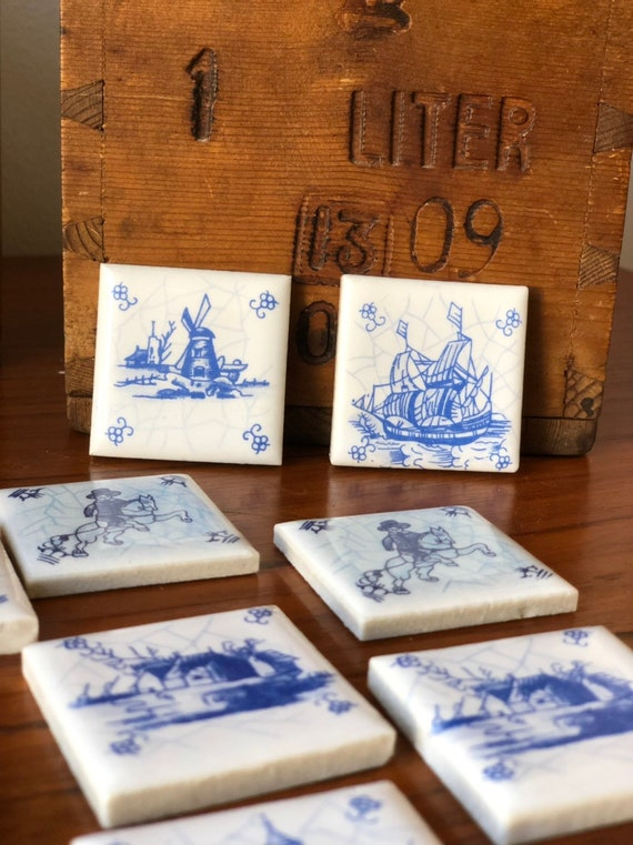 Set of 14 small vintage delfts blue collectible tiles holland Rotterdam-Holland 4x4 cm