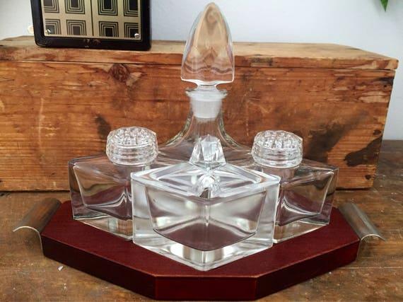 Danish/Midcentury Modern/Glass Condiments/Salt and Pepper Set/Teak Serving Tray/Scandinavian Design