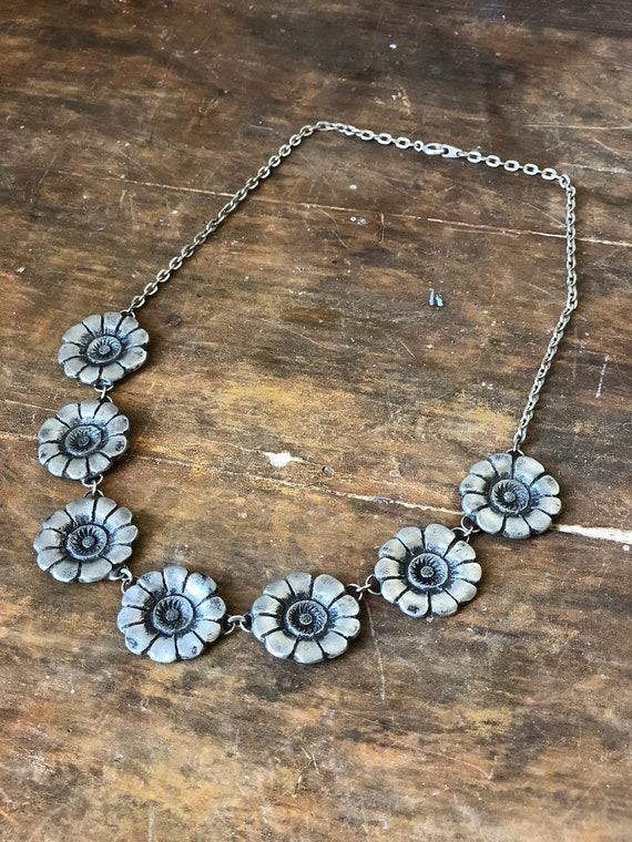 Signed vintage pewter Swedish necklace / daisy floral pattern / stamped Ottosson pewter necklace steel