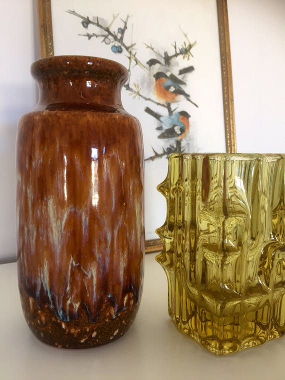 WGP/pottery/from/ scheurich/amazing/beautiful/glaze/ bohemian chic/earthy tones/West Germany/fat lava