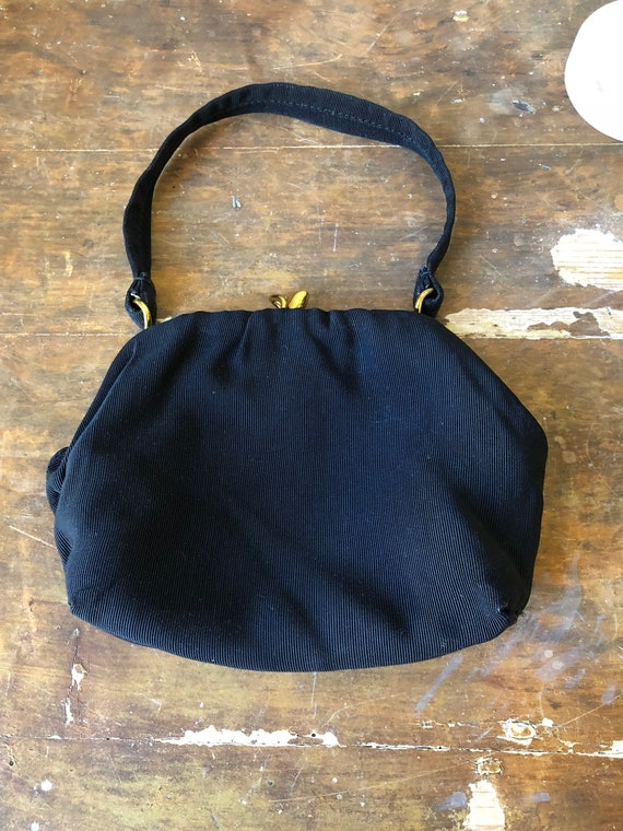 Evening bag black and gold 1950s Swedish formal prom purse