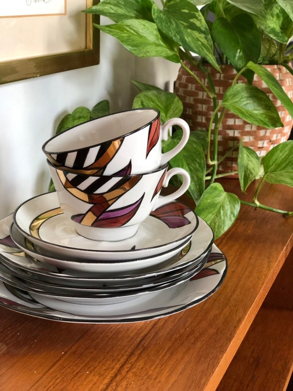 Set of art deco ARS Tallinn /Talliinna coffee cups saucers plates soviet hand painted