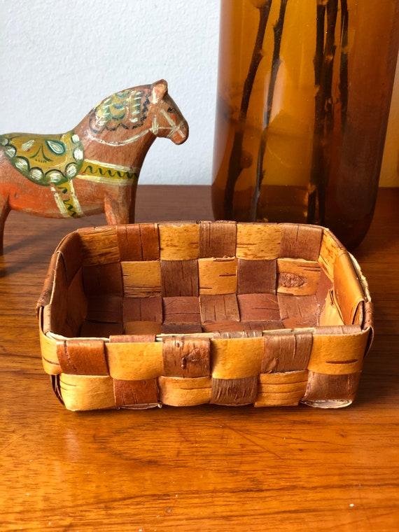 Small Swedish wooden birch bark basket midcentury modern basket storage handcrafted  Scandinavian swedish