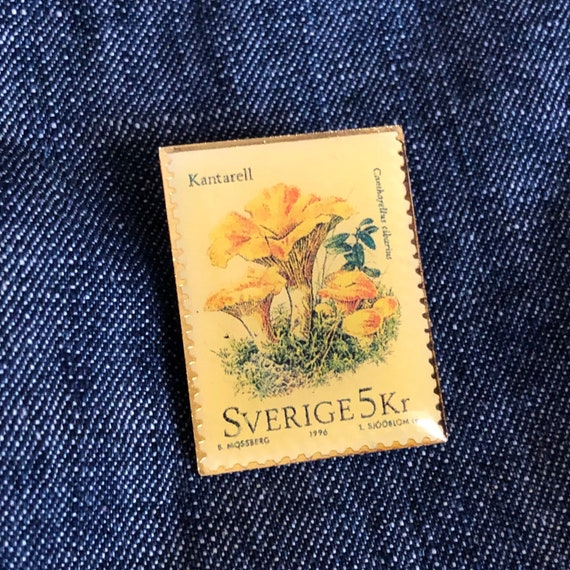 Vintage stamp pin Featuring mushrooms / yellow mushroom chanterelles pin