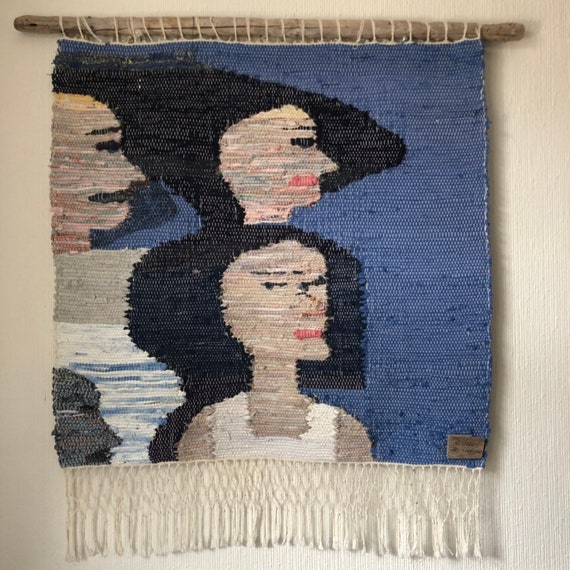 Original Scandinavian rag rug woven textil art wall hanging tapestry nordic design /Swedish weaving Nordic fiber art wallhanging