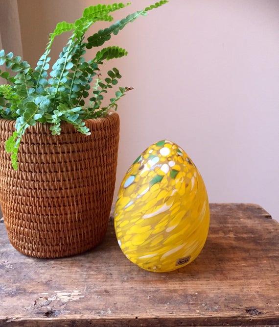 Boda Glass Egg designed by Monica Backström yellow figurine  / kosta boda  /1960s / bohemian retro