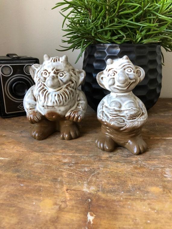 Troll shelf figurines Vintage Scandinavian ceramic figures Sweden / Swedish shelfie