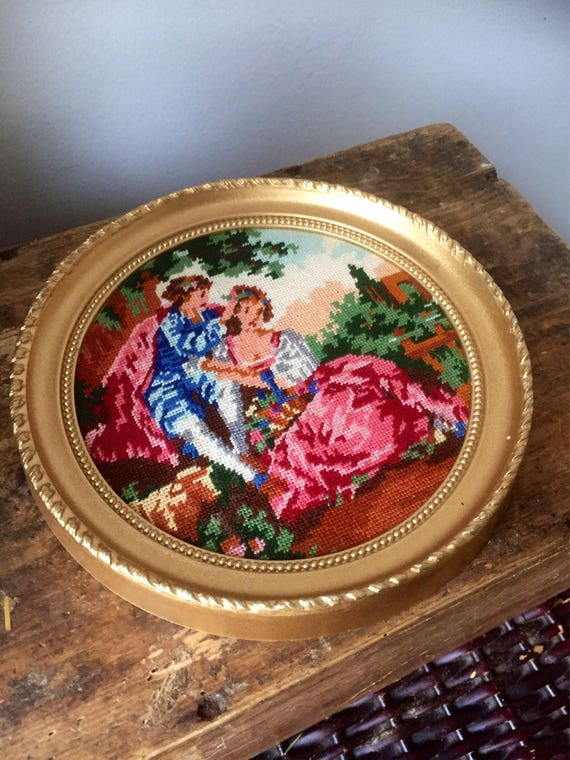Victorian/needlepoint/vibrant colors/in gold frame/handmade/excellent condition/1980s