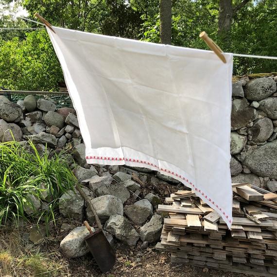 Vintage Scandinavian cradle crib pram flat sheet crisp white with red and blue rabbit pattern trim