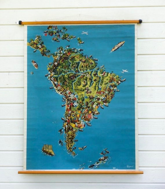 Vintage German 1957 classroom school house Map of South America by Georg Westermann