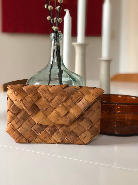 Swedish wooden birch bark midcentury modern woven wallet / purse / storage  Scandinavian Swedish