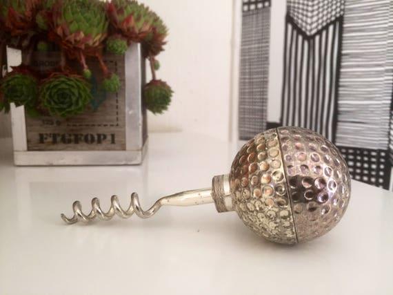 Corkscrew /silver plated /golf ball/ wine opener/1980s