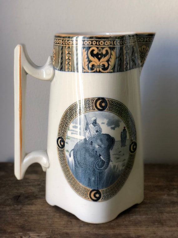 French Art Deco Opaque Sarreguemines Pitcher hand painted / Indian elephant