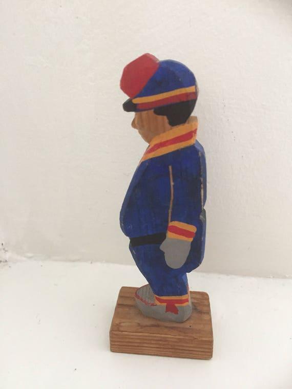 Scandinavian Aboriginal hand carved samir figurine rustic wooden traditional folk art