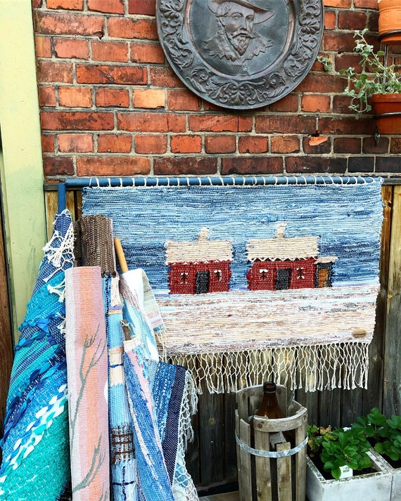 Original Scandinavian rag rug woven textil art wall hanging tapestry nordic design /Swedish weaving Nordic fiber art