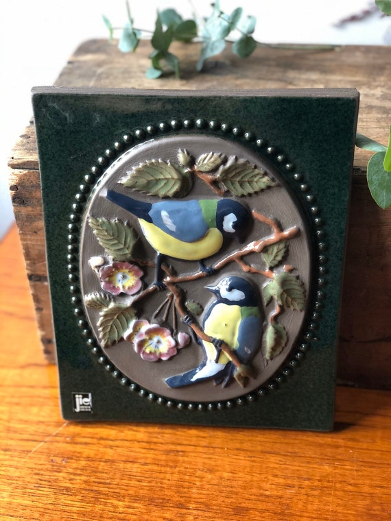 Jie Gantofta Sweden ceramic bird wall tile / wall plaque ceramic birds /  boho wall hanging chinoiserie